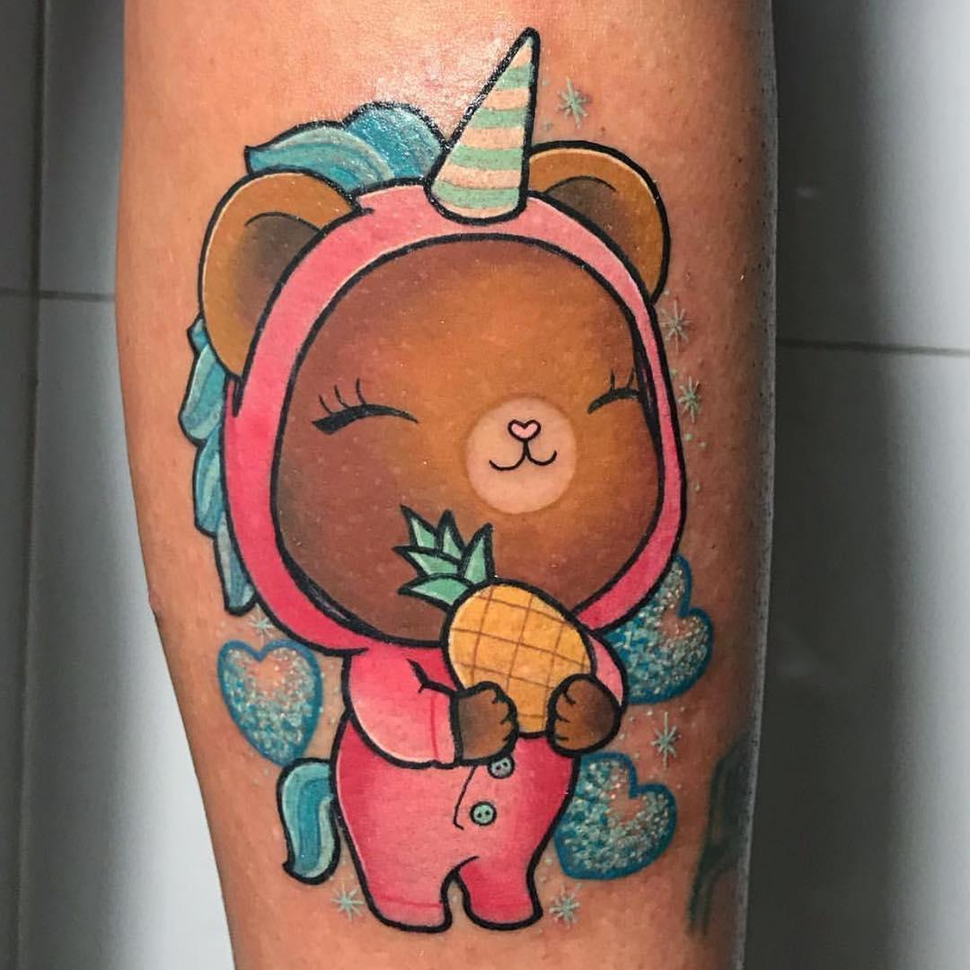 石先生小臂可爱小熊纹身图案