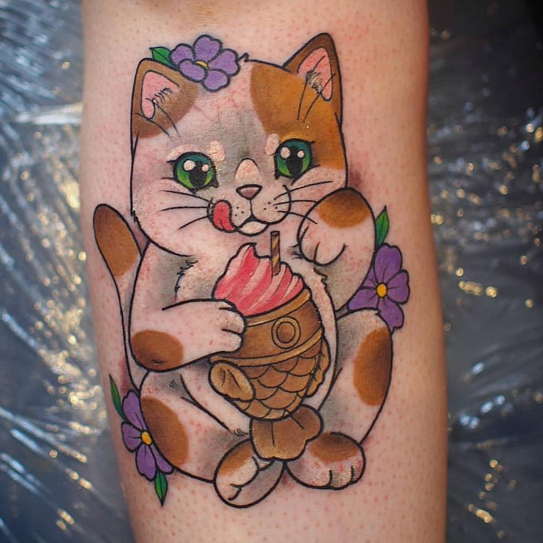 夏先生小臂小清新可爱猫纹身图案