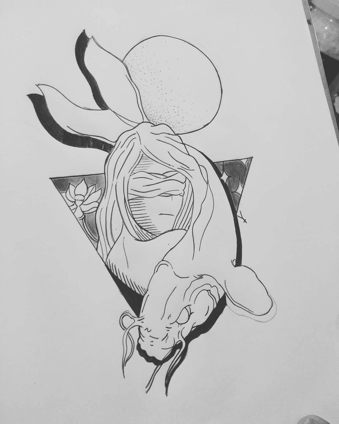 阴先生几何美女鳌鱼纹身手稿